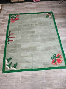 Vintage 1950's Christmas Sequin Applique Tulle and Felt Tablecloth