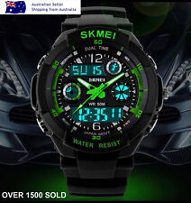 Green Men's boys running biking digital style g sport dual time Shock watch