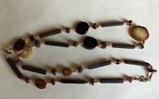 """UNUSUAL WOOD & PLASTIC NECKLACE BROWN 30"""" / 76 CMS"""