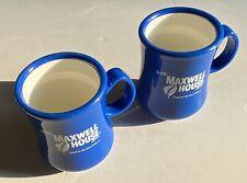 2 Vintage Blue White Maxwell House Coffee Mug Cup Continental Plastics RARE HTF