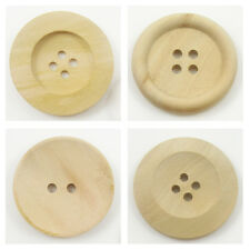 15mm - 35mm ROUND NATURAL WOODEN UNVARNISHED BUTTONS *4 STYLES & 5 SIZES* SEWING