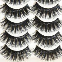 Newly 5 Pairs Blue+Black Long Thick Cross False Eyelashes Handmade eye lashes