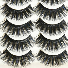 5 Pairs Blue+Black Long Thick Cross False Eyelashes Charm Handmade eye lashes
