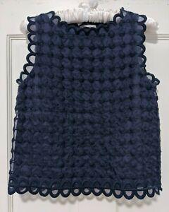 Red Valentino Navy Blue Silk Sleeveless Tank Top, size 40.