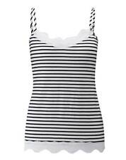 Pure Collection Lace Jersey Camisole - Black & White Stripe - Size UK 18 RRP £40