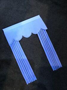 Dolls House Curtains 1/12 Mid Blue with Pelmet Window Dressing F765