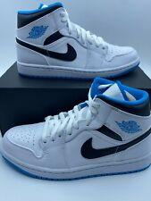 Nike Air Jordan 1 Mid ( 554724-141 ) White/Laser Blue-Black Men's Sizes 8-9.5