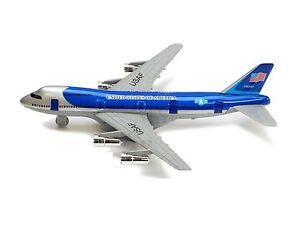 "New 8"" Diecast Toy passenger airplane jet 747 look alike plane blue PULL BACK"