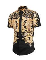 Men Women Luxury Golden Flower Design Baroque Short Sleeve Casual Shirts Top Tee