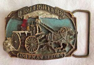 "VTG 1988 FIREFIGHTERS AMERICAN HEROES BERGAMOT BRASS WORKS BELT BUCKLE 3"""