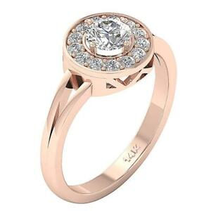 Halo Solitaire Anniversary Ring SI1 G 0.80 Ct Round Diamond Rose Gold Appraisal