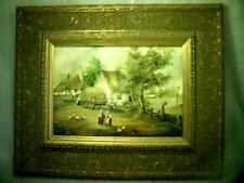 Fine ANTIQUE original HUNGARIAN - HUNGARY OIL PAINTING ( MEDIEVAL VILLAGE LIFE )