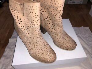 Italian Leather Cowboy Boots Camel Beige