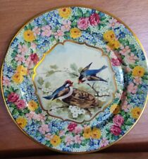 Vintage Daher Floral Chintz and Blue Birds Metal Tin Plate Holland 8""