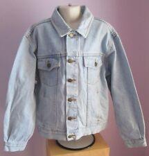 VTG Childs Unisex COACH CLOTHING Bleached Blue Denim Jacket Age 11