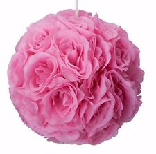 "4 pcs - 10""  Silk Kissing Rose Balls, Wedding Party,Home Decoration  pink"