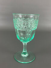 Antique Victorian GREEN, Panelled Daisy And Button, water goblet c.1880