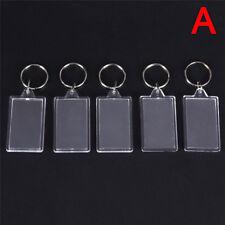 5X Transparent Blank Einfügen Foto Bilderrahmen Schlüsselanhänger BXQ