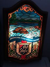 Vintage Heileman's Old Style Beer Stained Glass Lighted Sign River Scene. Works!