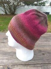 Mens Womens Wool Beanie Hat Skully Hand Knit Raspberry Red Beige Striped Hiking