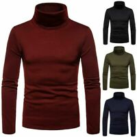 Mens Thermal Cotton Turtle Roll Neck Skivvy Turtleneck Sweater Stretch Shir Tops