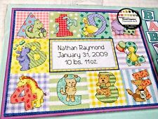 """DIMENSIONS ZOO ALPHABET BIRTH RECORD Counted Cross Stitch Kit 12"""" x 9"""" 73472"""