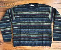 VTG 90'S J.CREW*BLUE GRAY RED GOLD STRIPE CREW NECK THICK BOXY WOOL SWEATER*L