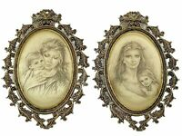 Vintage Ornate Italian Pair of Framed Silk Fabric Portraits ~ Mother and Child