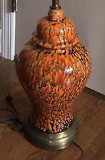 Lamp Ginger Jar Orange Brown Drip MCM Classic