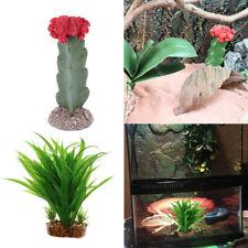 2Pcs Natural Looking Artificial Leaf & Cactus Aquarium Plant Decor Ornament