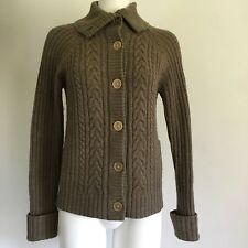 Brooks Brothers Womens Cardigan Sweater Bros. M All Wool Brown Taupe Buttons