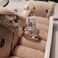 Stunning AAA Cr Diamond  Ring Set In platinum Over Sterling  Silver