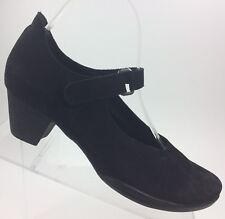 ARCHE France Women's 40 EU / 9 US Black Nubuck Mary Jane Heel Pumps Shoes Career