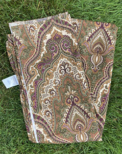 CROSCILL Paisley Shower Curtain green~gold~purple~beige Silky Polyester NWOT