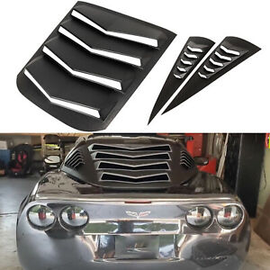 3 PCs Rear and Side Window Louvers Windshield Cover Fits 2005-2013 Corvette C6