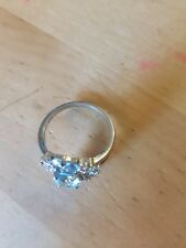 Elegant Art Deco Ladies sterling silver ring created aquamarine, brand new
