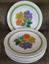 5 Vintage 1970's Franciscan Earthenware Salad Plates, In The Floral Pattern USA