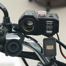 Waterproof Motorcycle Dual USB Charger Power Adapter Socket w/ Voltmeter Display