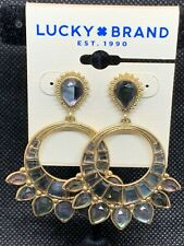 LUCKY BRAND Gold-Tone Hoop Set Stone Statement Earrings NWT $39 Fast Shipping!!