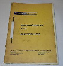 Pièces catalogue rustica bleinroth bunkerköpfroder type rks, année modèle 1967-1970