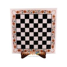 "15"" Marble Side Chess Table Top Hakik Floral Marquetry Inlay Kitchen Decor W306"