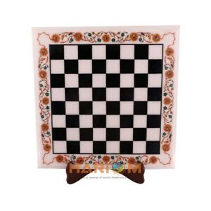 "15"" Marble Chess Coffee Table Top Carnelian Floral Inlay Art Playroom Decor W306"