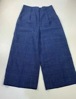 WOMENS MARKS&SPENCER NAVY CHECK MIX CASUAL SUMMER HIGH WAIST TROUSERS SIZE UK 12