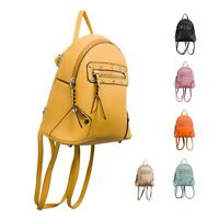 Ladies Faux Leather Zip Rucksack Girls Studded Backpack Shoulder Handbag KT2191