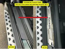 TUCSON DOOR SILL PLATES STAINLESS STEEL BLACK LOGO AFTERMARKET PART - TS001