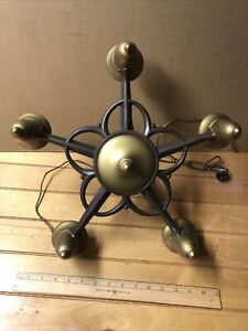 Antique Cast Iron 5 Light Chandelier With Center Switch For Restoration
