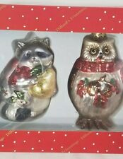 2 Vintage Glass Christmas Ornaments ~Animals ~Owl/Racoon ~Dillard's trimmings