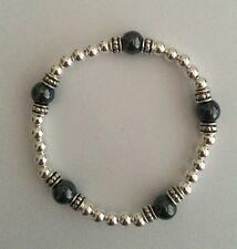 Sterling Silver Stretch Bracelet Hematite Gemstone Beads. Sterling Bracelet