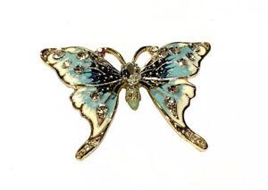 Large Blue Enamel & Gold Tone Butterfly Brooch Pin J026