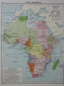 1930 MAP ~ AFRICA HISTORICAL 1815-1919 EUROPEAN POSSESSIONS TRIPOLI EGYPT